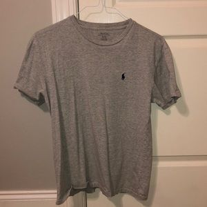 Gray polo t shirt.